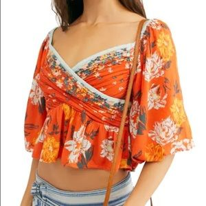 Free People Mirabella Floral Wrap Front Blouse L